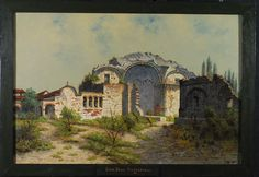 """""""Mission San Juan Capistrano"""" by Edwin Deakin. On display at the Santa Barbara Mission Archival Library. www.fineartconservationlab.com"""