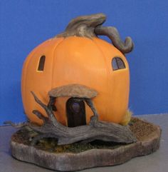 Quarter scale pumpkin house made with Creative Paperclay®