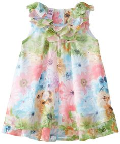 Blueberi Boulevard baby girl multi floral chiffon dress lined infant size 24 NEW #BlueberiBoulevard #DressyEveryday