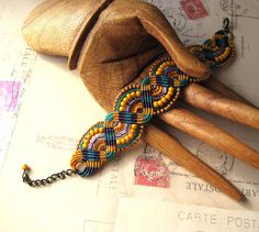 wow,Mustard Teal and Purple Beaded Macrame Bracelet by KnotJustMacrame