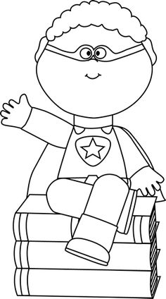 For the Library - Black and White Superhero Sitting on Books - SRP 2015 Superhero Classroom Theme, Classroom Themes, Read A Thon, Book Clip Art, Kindergarten Rocks, Summer Reading Program, Library Lessons, Book Week, Beginning Of School