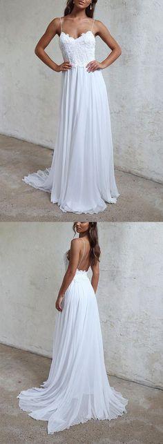 White lace Wedding Dress,A Line Prom Dress,v neck Prom Dress,Backless Evening Dresses,lace Prom Dress,