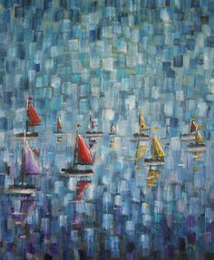 Boat Race  Original Oil Painting  12 x10