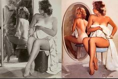 """Turns out models have been getting the Photoshop treatment long before Photoshop ever existed. Pin-up artists like Elvgrin would usually alter the appearance of their models by cinching in their waists, changing hair color and livening up facial expressions. This woman takes """"fake tanning"""" to a whole new level."""