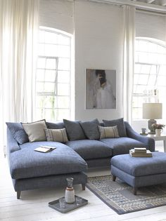 British made luxury Oscar Chaise corner sofa and Legsie footstool in shaker blue herringbone