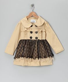 Perfect for petite sweets, this coat draws inspiration from fluttery frocks for an elegant new look. The double-breasted button closures, Peter Pan collar and flocked skirt add to this piece's sophisticated appeal. 65% polyester / 35% cottonHand wash; hang dryImported