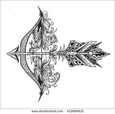 Arrow with a feather and bow archery. Graphic patterns with floral motifs and ethnic elements
