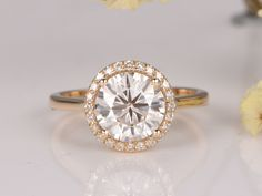 1.5ctw Moissanite and Diamond Engagement Ring 14k Yellow gold Halo 7.5mm Round Cut Gems Stacking Ring