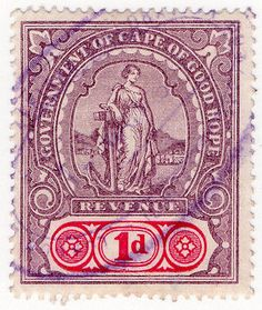 (I.B) Cape of Good Hope Revenue : Stamp Duty 1d West Africa, South Africa, Stamp Duty, Tampons, Postage Stamps, Eagles, Envelopes, Postcards, Cape