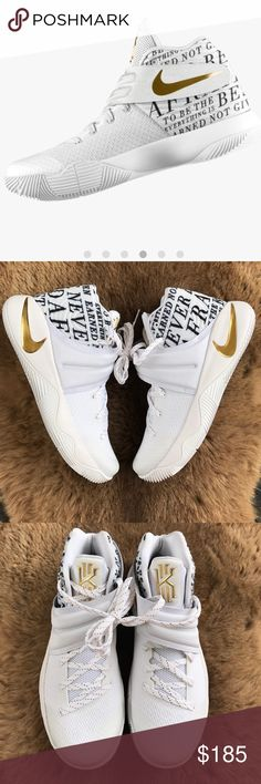 NWT Nike ID KYRIE 2 gold swoosh custom Brand new no box Nike ID custom made men's ,no trades,price is firm The second coming of the only shoe Kyrie trusts to elevate his filthy handles.  Blends lightweight, zonal support with responsive cushioning. Visible curve in outsole allows for smooth lateral transitions. Hyperfuse construction offers durability, breathability, and support. Midfoot straps lockdown the foot. Molded channels in the mesh upper allow the shoe to flex with the foot. Nike…