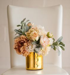 Gold Glass Vase for Wedding Centerpieces - 6in. Tall x 5in. Wide
