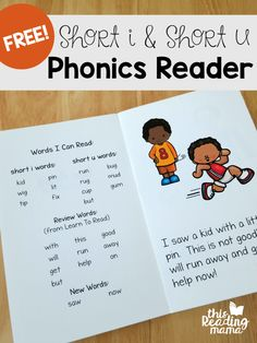 Learn to Read - Short i - Short u Phonics Reader & Activities - This Reading Mama - Today, I'm sharing the next set of freebies from Learn to Read! This time, it's a short i and short u phonics reader plus more activities for phonics & sight words. Phonics Books, Phonics Reading, Teaching Phonics, Phonics Activities, Kindergarten Reading, Reading Activities, Reading Skills, Teaching Reading, Jolly Phonics