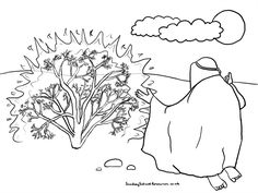 Bush Outline For LuminariesSunday School Coloring Page Moses Burning