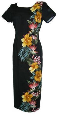 Kaanapali Hawaiian Long Black Dress with Sleeve