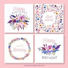 Birthday cards collection in watercolor . Printable Pictures, Printable Cards, Happy Birthday Best Wishes, Diy Notebook Cover, Creative Birthday Cards, Birthday Card Drawing, Doll House Crafts, Bullet Journal Banner, Birthday Design