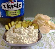 Vlasic dill pickle dip with chips, courtesy of @Jenna Nelson Nelson Sullivan. Wow!