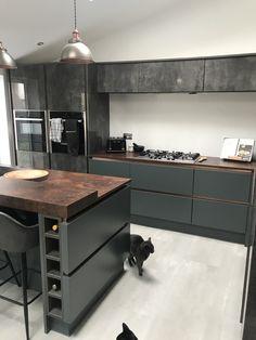 Our new wren kitchen. Modern Grey Kitchen, Grey Kitchen Designs, Kitchen Room Design, Modern Kitchen Design, Kitchen Ideas, Kitchen Inspiration, Luxury Kitchens, Home Kitchens, Wren Kitchen