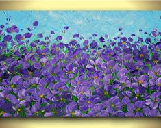 Original Modern Purple Flowers Heavy Impasto Texture Palette Knife Acrylic Painting. Made2Order.