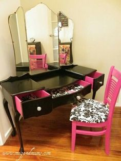 How to spice up an old vanity dresser and chair/ DIY furniture makeover /teen girl bedroom furniture
