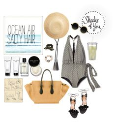 """Shades of You: Sunglass Hut Contest Entry"" by aivvva ❤ liked on Polyvore featuring Ryan Roche, Bobbi Brown Cosmetics, OndadeMar, CÉLINE, Aquazzura, Moscot, Crate and Barrel, Betsey Johnson and Moleskine"