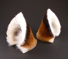 Brown Black White Fur Leather Fox Wolf Dog Ears Inumimi by noxhyde