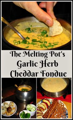 The Melting Pot Garlic Herb Cheddar Fondue - - Love the cheese fondues served at The Melting Pot restaurant? Here is the recipe for their Garlic Herb Cheddar Fondue made with cheese, beer, and Green Goddess Sauce! The Melting Pot, Melting Pot Recipes, Dips Für Fondue, Fondue Raclette, Fondue Party, Cheese Fondue Dippers, Fondue Ideas, Beer Cheese Fondue Recipe Melting Pot, Melting Pot Garlic And Wine Seasoning Recipe