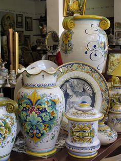 Ceramics display in showroom of Gialletti Giulio in Deruta, Italy