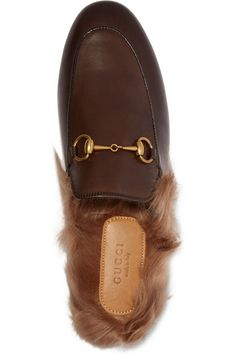 Gucci | Horsebit-detailed shearling-lined leather slippers | NET-A-PORTER.COM