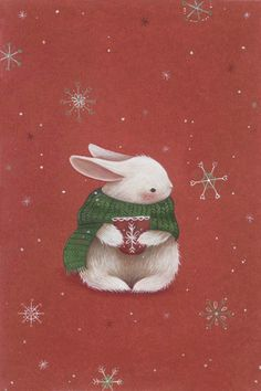 Winter bunny with a scarf and a cup of cocoa