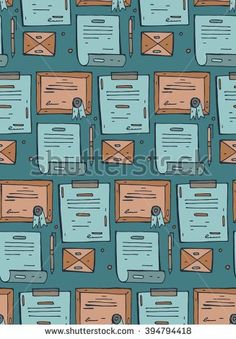 Vector seamless pattern on the theme of office. Pattern with isolated cartoon documents. Background for use in design, web site, packing, textile, fabric. - stock vector