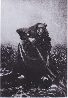 Van Gogh - Bäuerin beim Kartofellesen, 1885