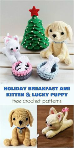 Holiday Breakfast - Ami Kitten and Lucky Puppy [Free Crochet Patterns]