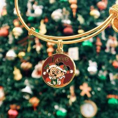 ALEX AND ANI DIsney Mickey and Minnie Holiday Charm bangle | Available on disneystore.com and at the theme park stores in both DisneyWorld and DisneyLand