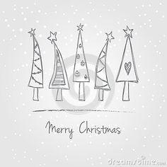christmas-trees-doodle-illustration-snow-style-33870093.jpg (400×400)