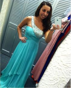 Light Blue A Line Prom Gowns With Beaded One Shoulder, Floor Length Chiffon Beaded Formal Dresses, Long Light Blue Bridesmaid Dresses
