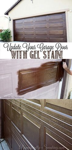 Your Garage Door with Gel Stain, Create a Faux Wood Look. Who knew you could make a plain garage door look this richUpdate Your Garage Door with Gel Stain, Create a Faux Wood Look. Who knew you could make a plain garage door look this rich Garage Door Update, Diy Garage Door, Garage Door Makeover, Garage Storage, Garage Ideas, Garage Organization, Exterior Makeover, Organized Garage, Car Garage