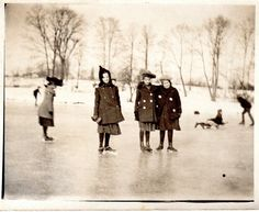Vintage Photograph - Group of Girls Ice Skating