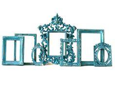 Faux Verdigris Patina Aqua Frame Set 7 pieces. Wall by OhMyDeko, $98.00