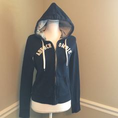 """M A & F, navy zip up hoodie/green """"love pink"""" Medium, navy,  logo Abercrombie & Fitch zip up sweatshirt material hoodie with thermal and sweatshirt material hood.  Logo is in raised cream material.  Great jacket just isn't my size.  Very comfy!!!! Abercrombie & Fitch Jackets & Coats"""