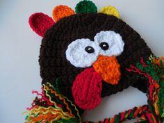 Turkey Hat  Earflap Turkey Hat  Handmade by ShelleysCrochetOle