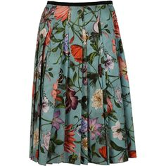 Gucci Skirts found on Polyvore featuring skirts, light blue, green floral skirt, multicolor skirt, colorful skirts, knee length pleated skirt and floral print skirt