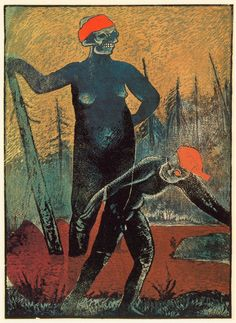 Moorland Demon Illustration by Czech artist Josef Váchal from his book, Gabreta dying and romantic. Art And Illustration, Vintage Illustrations, Wood Engraving, Fantastic Art, Figure Painting, Art Images, Art History, Printmaking, Google