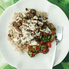 Harissa lamb mince with Middle Eastern rice [Rice: basmati, rice vermicelli noodles, allspice, stock + Salda: Tomato & coriander salad with tahini & lemon dressing]