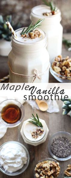 Start your day off right with a heart-healthy maple vanilla smoothie. Start your day off right with a heart-healthy maple vanilla smoothie. Easy Smoothies, Breakfast Smoothies, Fruit Smoothies, Smoothie Recipes, Drink Recipes, Cocktail Recipes, Cocktails, Milkshake Recipes, Fall Recipes