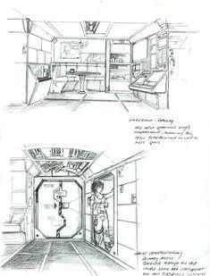 Scout Interior sketches by Sabakakrazny on DeviantArt Spaceship Interior, Starship Concept, Star Wars Episode Iv, Alien Concept Art, Interior Sketch, Deck Plans, Sci Fi Art, Star Wars Art, Cartography