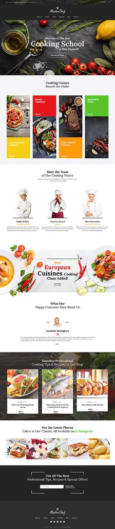 Master Chef is a stylish WordPress theme tailor-made for a cooking school. Since it is customizable and easy to use, you can adapt its design to any other education site. Simply go to a live customizer and modify anything from header and footer styles to typography and palette. For example, the theme features a dark color scheme, but you can edit it in line with your corporate style. To preview changes, no reloading is required. You can see them in a live mode.