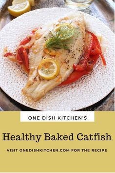 This healthy baked catfish recipe is definitely a winner! The fish cooks along with vegetables all in the same pan. An easy to make meal that's healthy, full of flavor, and ready in minutes! Baked Catfish, Kitchen Dishes, Healthy Baking, Recipes, Recipies, Ripped Recipes, Cooking Recipes, Medical Prescription