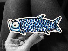 Tarpon Drawing Laminated 3M Vinyl Decal Artwork Online, Fish Print, Aqua Logo, One Design, Vinyl Decals, Original Artwork, Bubbles, Doodles, Line Drawing