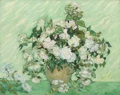 Rozen Stilleven : Vincent van Gogh - Rozen in bruine vaas - Roses in brown vase.