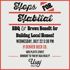 We are hosting a Habitat for Humanity fundraiser at Denver Beer Co on July 22 at 5:30 and you are invited! The event will have a live band, BBQ food, and of course, beer! Don't miss it. RSVP for a free beer at ow.ly/Pj4Qo . #yousayrealestate #Denver #DenverBeerCo #HabitatForHumanity #fundraiser